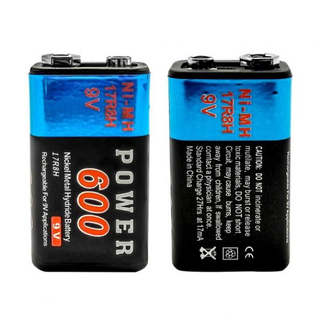9 Volt Power 600 mAh (rechargeable)