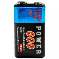 9 Volt Power 600 mAh (rechargeable)