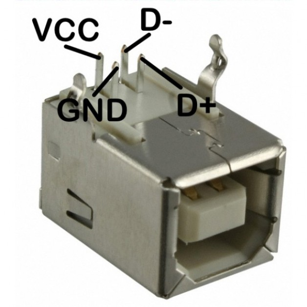 USB B (female) connector angled