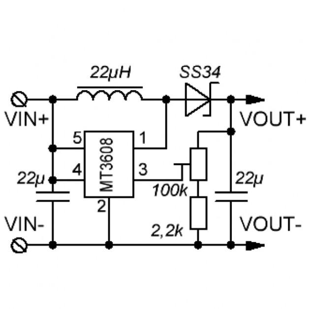 DC-DC boost converter (2 - 24 volt)