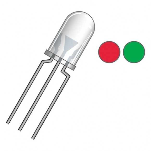 Bi-Color Red/Green crystal clear (5mm) (cathode)