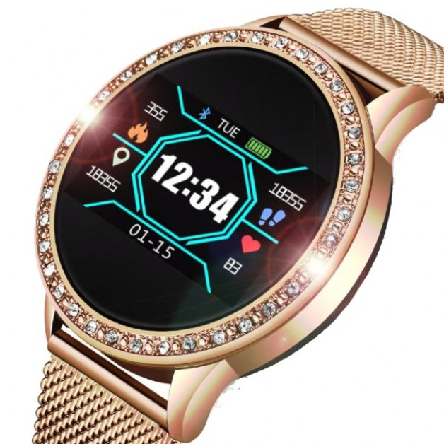 Ladies smartwatch - Rose gold inlaid with diamonds